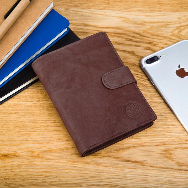 Шкіряний чоловічий гаманець BETLEWSKI з RFID 12,9 х 10 х 2,5 (BPM-GTAN-993) - коричневий