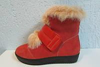 Зимние ботинки Magiland 0201 оранжевые натуральная замша и мех код 820А
