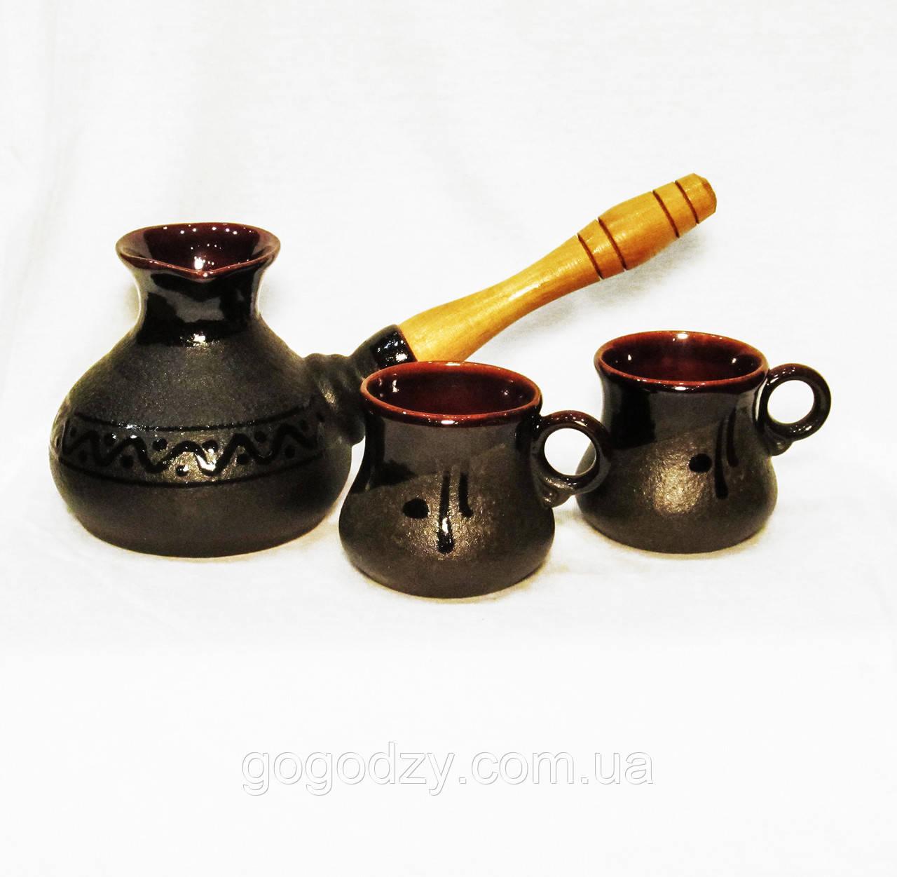 Набір кавовий (турка мала чорна з двома горнятками)