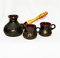 Набір кавовий (турка мала чорна з двома горнятками), фото 1