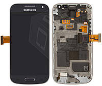 Дисплейный модуль (+ сенсор) для Samsung Galaxy S4 mini i9190, с передней панелью, синий, оригинал