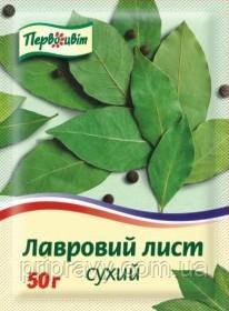 Лист лавровый сухой ТМ Первоцвіт, 50г.