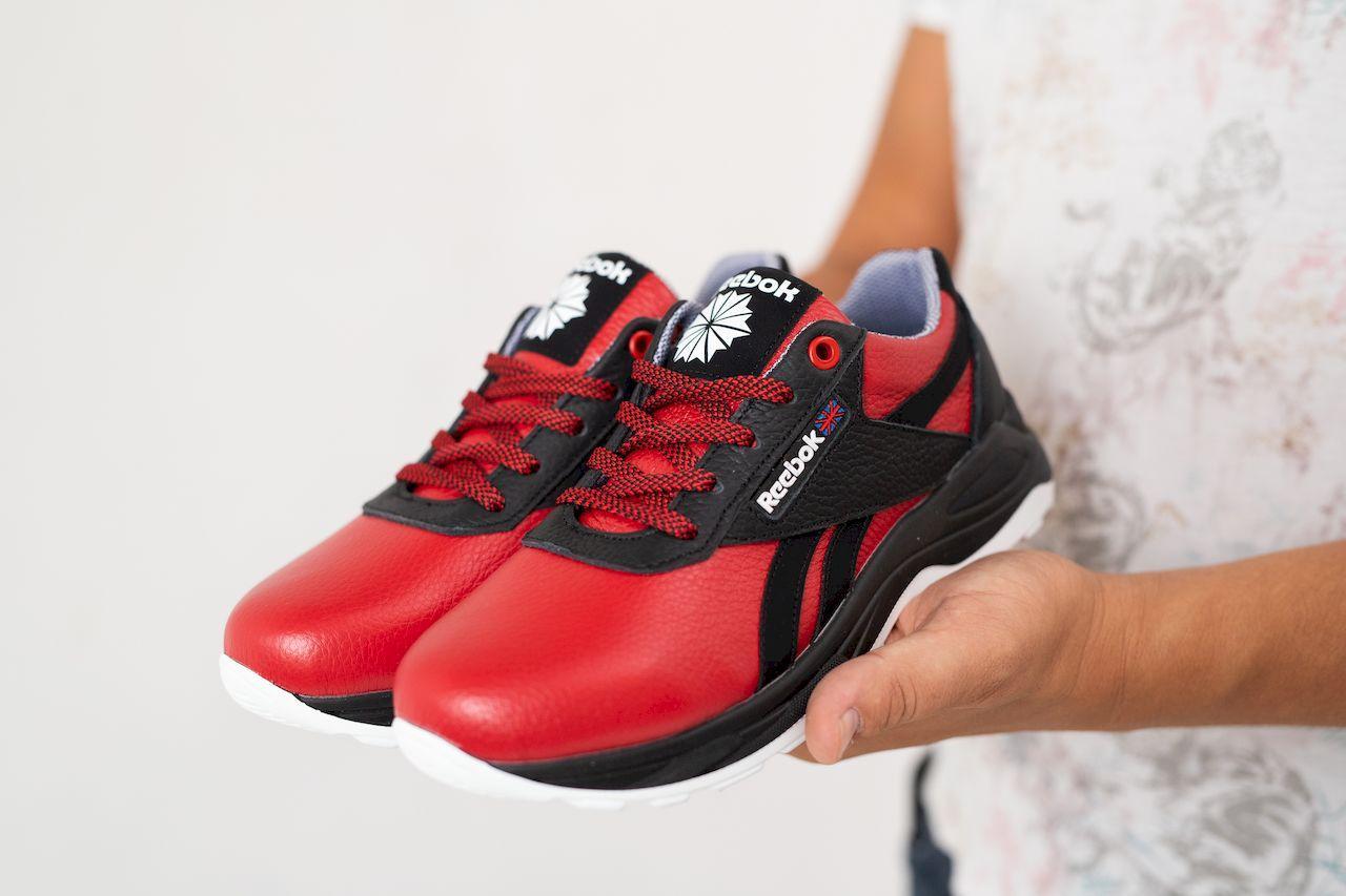 Подростковые кроссовки кожаные весна/осень красные-черные CrosSAV 90 Exofit Lo Clean