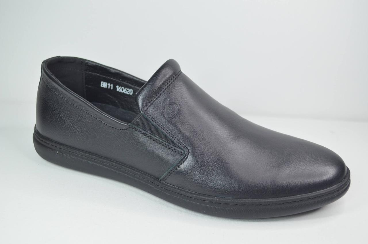 Чоловічі шкіряні туфлі чорні Bastion 19050