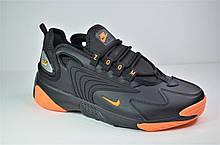Кроссовки черные с оранжевым в стиле ZOOM 2K (3233 - 6)