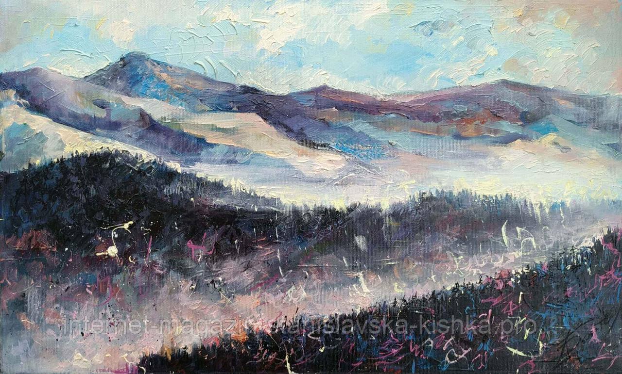 """Картина ГОРИ """" Сокольські """" пейзаж полотно, олія 30 * 49"""
