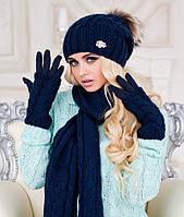 Зимний женский комплект шапка шарф и перчатки