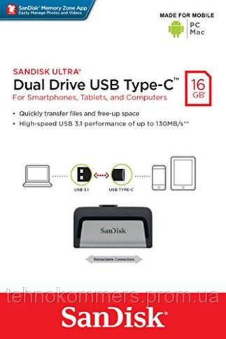 Флеш-накопичувач SanDisk USB3.1 Gen 1/USB Type-C Ultra Dual Drive 16GB Silver-Black, фото 3
