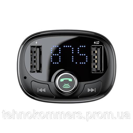 Автомобільний зарядний пристрій Baseus T typed Wireless MP3 Black, фото 2