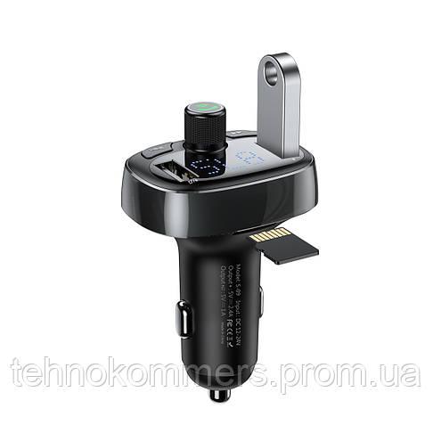 Автомобільний зарядний пристрій Baseus T typed Wireless MP3 Black, фото 3