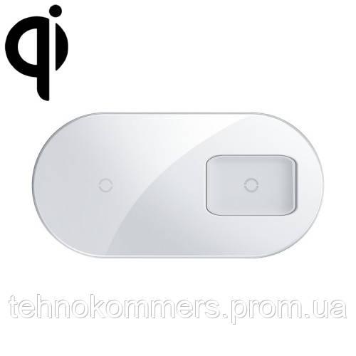 Бездротовий зарядний Baseus Simple 2in1 Wireless Charger Pro Edition For Phones+Pod White