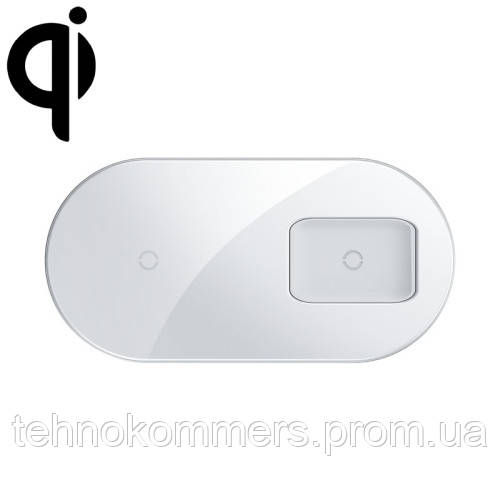 Бездротовий зарядний Baseus Simple 2in1 Wireless Charger Pro Edition For Phones+Pod White, фото 2