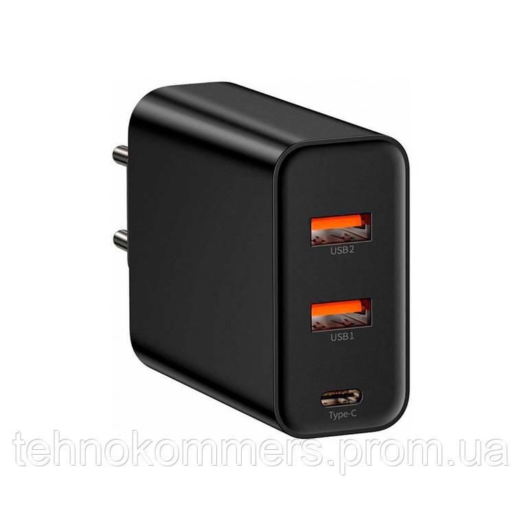 Мережевий зарядний пристрій Baseus PPS three output quick charger(C+U+U)60W EU Black, фото 2
