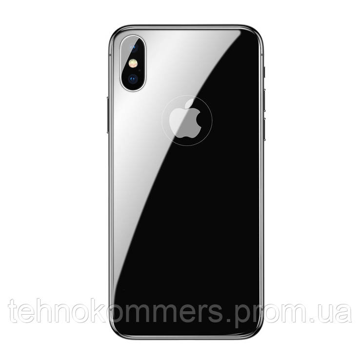 Захисне скло Baseus 0.3mm All-coverage Back Glass Space gray for iPhone X, фото 2