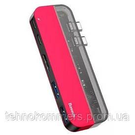 USB-Hub Baseus Transparent Series Dual Type-C Multifunctional HUB Adapter Red