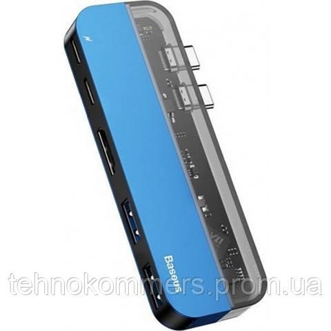 USB-хаб Baseus Transparent Series Type-C Multifunctional HUB Blue, фото 2