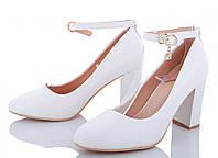 Женские белые свадебные туфли с ремешком на устойчивом каблуке для невесты 36 37 39 40
