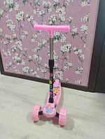 Детский самокат для девочки ScooTer цвет розовый с широкими колесами