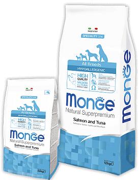 Monge (Монже) Hypoallergenic Гипоаллергенный сухой корм для собак с лососем и тунцом 15 кг