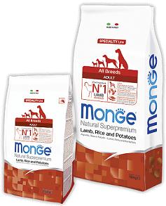 Сухой корм для собак Monge (Монже) All breeds Adult с ягненком и рисом 15 кг