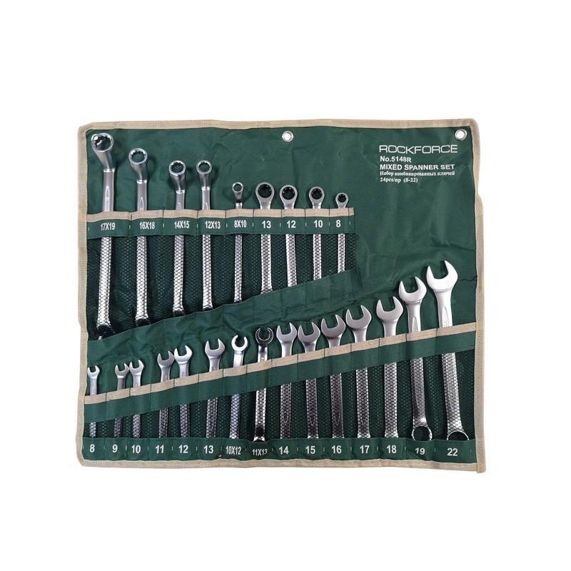 Набор ключей универсальный  24пр;комбинированные 13пр на полотне