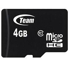 Карта памяти Team Group Micro SD 10 Class 4 GB Черный