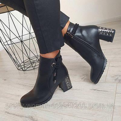 Черевики жіночі демісезонні чорні на каблуку екошкіра