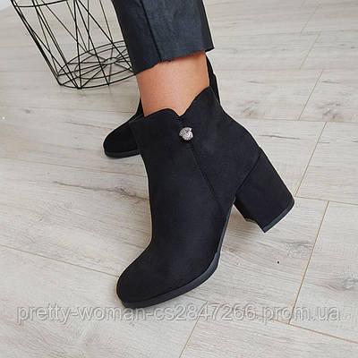 Черевики жіночі чорні на каблуку екозамша