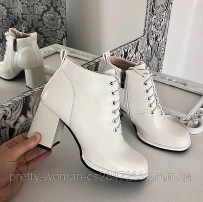 Черевики жіночі білі на каблуку екошкіра