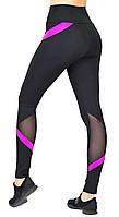 Женские спортивные лосины для фитнеса, леггинсы для тренировок в спортзале Valeri 1232.1 черные с розовым, фото 1