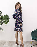 Синее цветочное платье на кулиске, фото 3