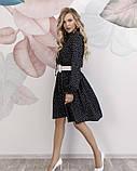 Черное в горошек платье с рюшами, фото 2