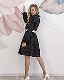 Черное в горошек платье с рюшами, фото 3