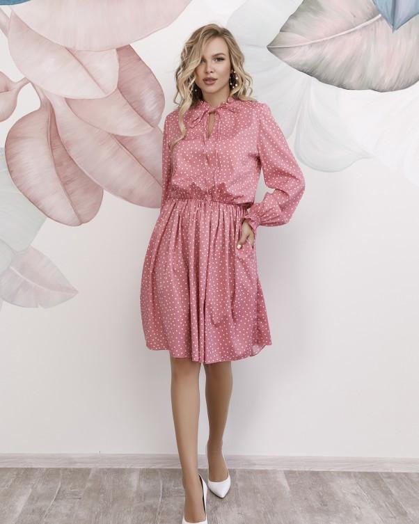 Розовое в горошек платье с рюшами L