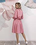 Розовое в горошек платье с рюшами L, фото 3