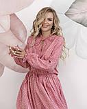 Розовое в горошек платье с рюшами L, фото 4