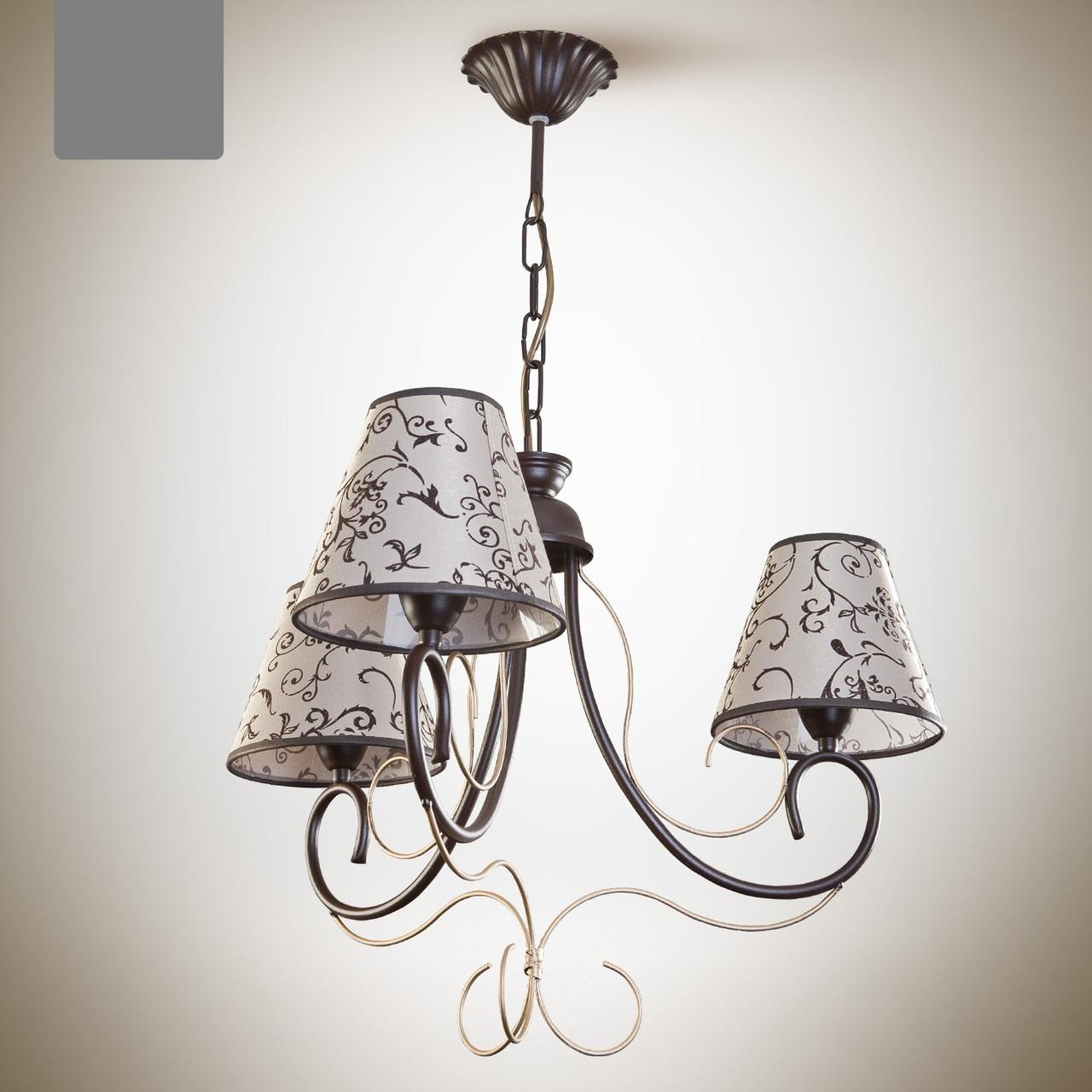 Люстра для спальни, 3-х ламповая в классическом стиле, с абажурами  6203