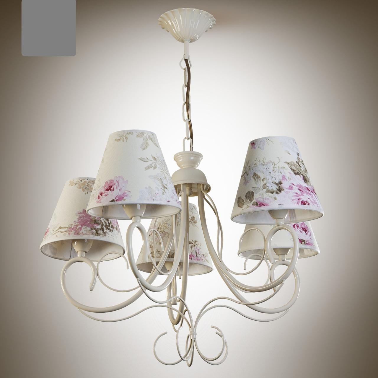 Люстра прованс для спальни, зала, 5-ти ламповая с абажурами  6205-3