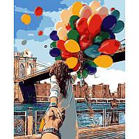 Картина по номерам Babylon Девушка с шарами DZ68 40*50. На холст с подрамником.