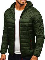 Куртка мужская демисезонная весенняя осенняя Hot хаки с капюшоном   Утепленная стеганая ветровка   Пуховик