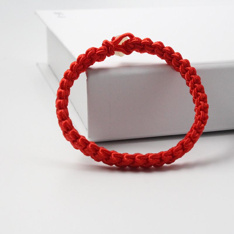 Браслет червоний на удачу оберіг широкий плетений