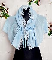 Легкий платок для венчания и крестин Виола 110*75 см голубой