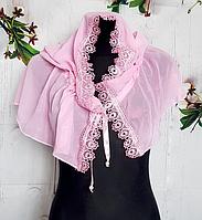 Легкий платок для венчания и крестин Виола 110*75 см розовый