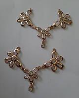 Металева прикраса на горловину «Три квітки»