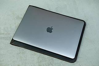 Шкіряний чохол для MacBook, модель №38, Вінтажна шкіра, колір Шоколад, фото 3