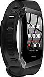 Розумний фітнес браслет Lemfo E18 з функцією вимірювання тиску і функцію пошуку телефону чорний, фото 3