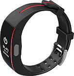 Розумний фітнес браслет Jiks Fit з тонометром і вимірюванням ЕКГ і вологозахист чорно-червоний, фото 3