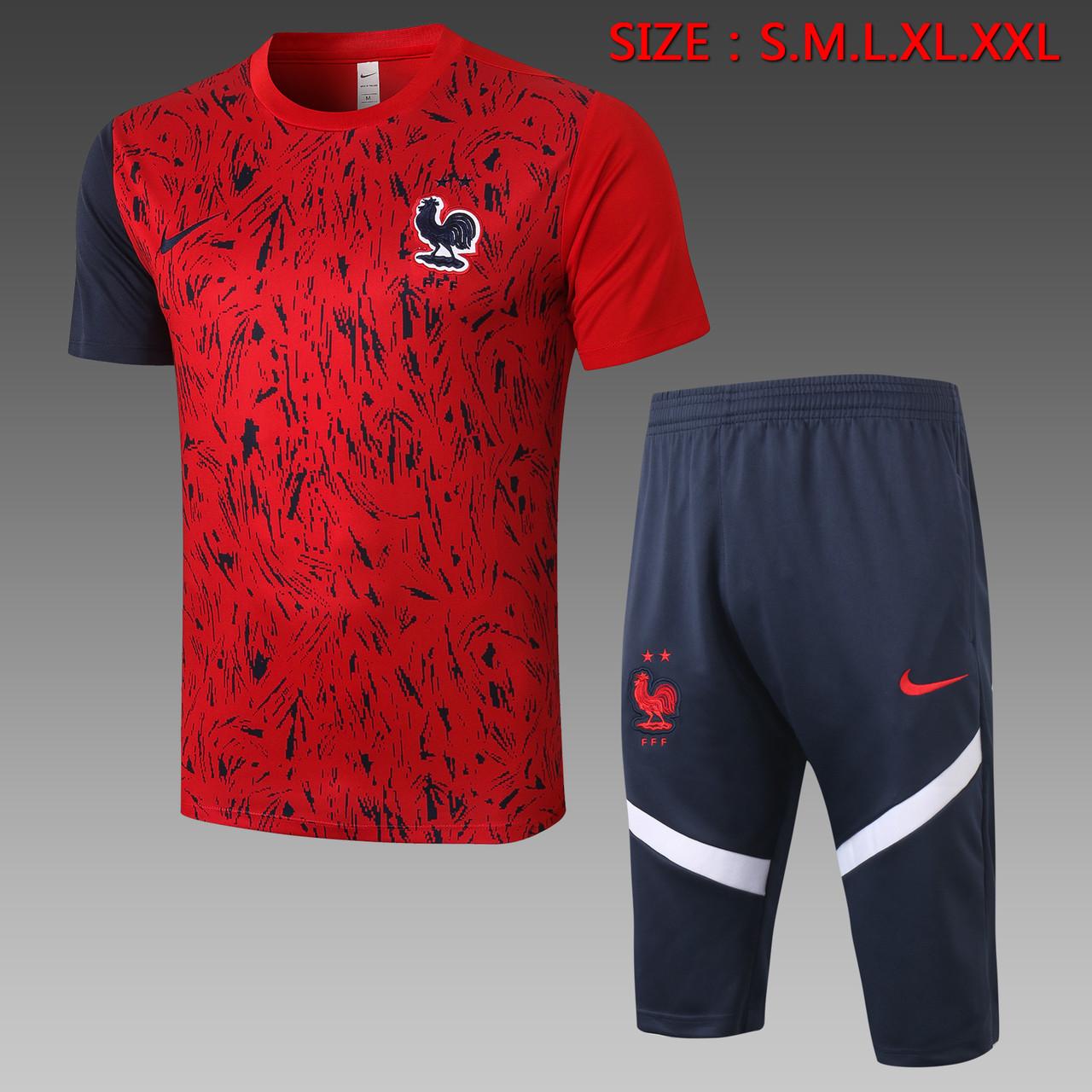 Летний тренировочный костюм сборной Франции 2020 (бриджи + футболка)