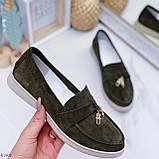 Стильные туфли - лоферы женские зеленые/ хаки натуральная замша, фото 6
