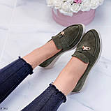 Стильные туфли - лоферы женские зеленые/ хаки натуральная замша, фото 2
